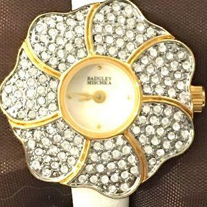Badgley Mischka Floral Pave Ladies Watch in Box